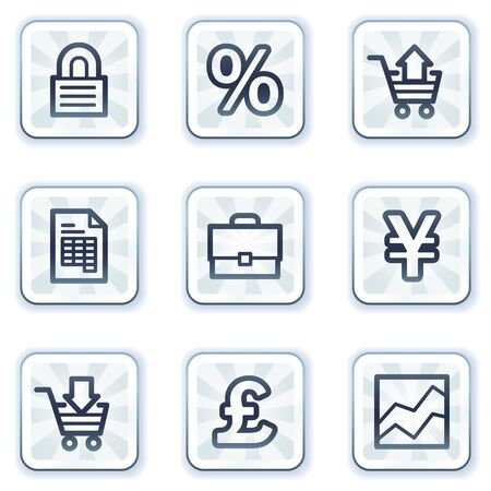 E-business web icons, white square buttons Vector