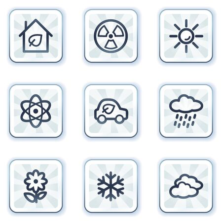 Ecology web icons set 2, white square buttons Vector