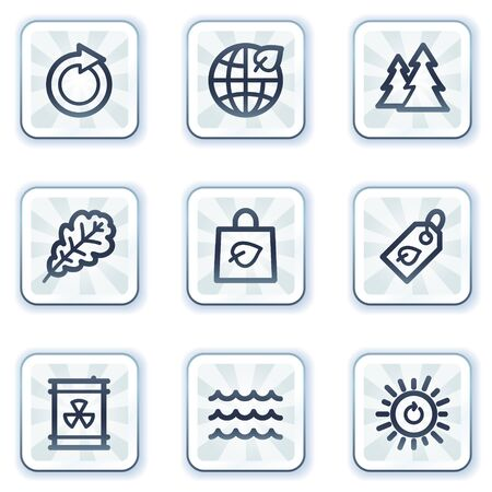 Ecology web icons set 3, white square buttons Vector