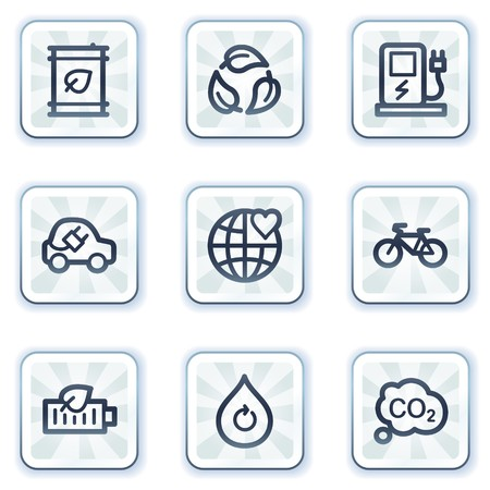 electro world: Ecology web icons set 4, white square buttons