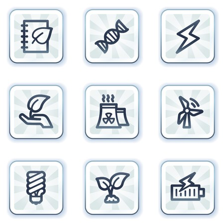 Ecology web icons set 5, white square buttons Vector