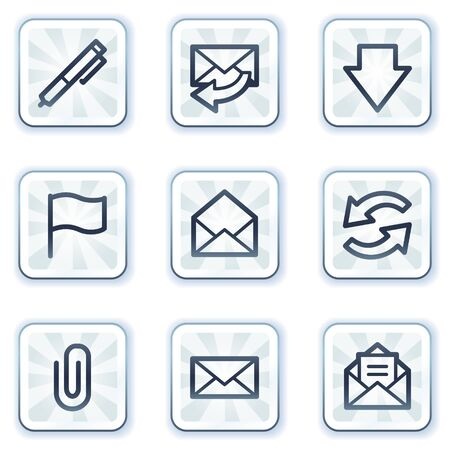 E-mail web icons, white square buttons Vector