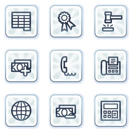 Finance web icons set 2, white square buttons Stock Vector - 6931433