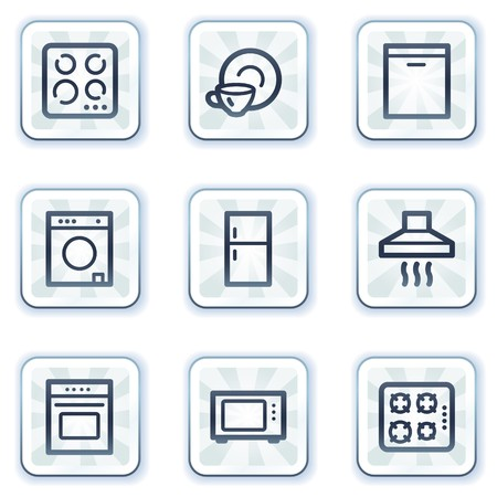 Home appliances web icons, white square buttons Vector