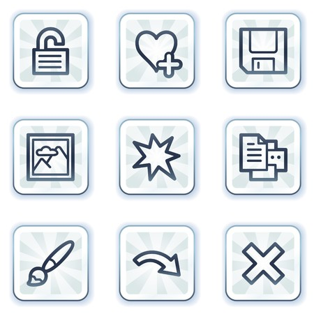 Image viewer web icons set 2, white square buttons Vector