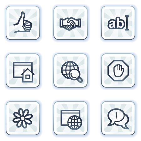icq: Internet web icons set 1, white square buttons
