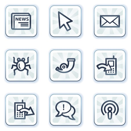 Internet web icons set 2, white square buttons Stock Vector - 6931419