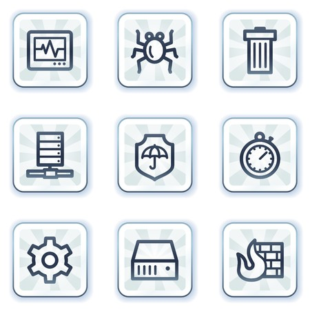 Internet security web icons, white square buttons Vector