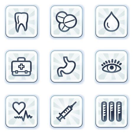 Medicine web icons set 1, white square buttons Vector