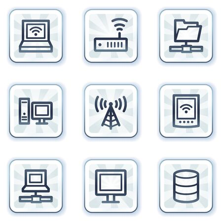 nettop: Network web icons, white square buttons Illustration
