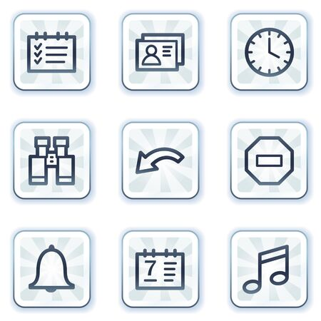 Organizer web icons, white square buttons Vector
