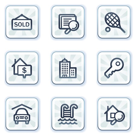 Real estate web icons, white square buttons Stock Vector - 6931475