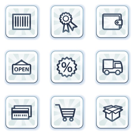 Shopping web icons set 2, white square buttons Vector