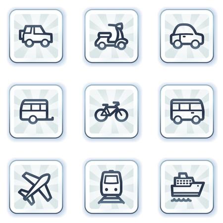 steamship: Transport knoppen voor het web icons, witte vierkant