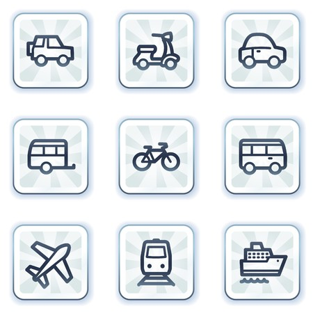 Transport  web icons, white square buttons Stock Vector - 6931427
