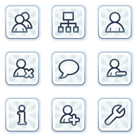 Users web icons, white square buttons Vector