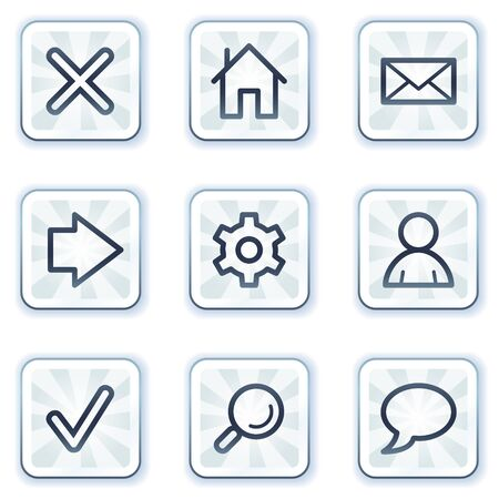 Basic web icons, white square buttons Vector
