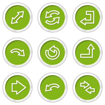 back button: Arrows web icons set 1, green circle buttons Illustration