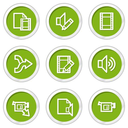Audio video edit web icons, green circle buttons Vector