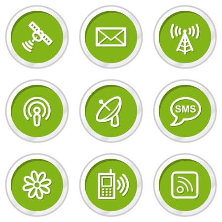 Communication web icons set 1, green circle buttons Vector