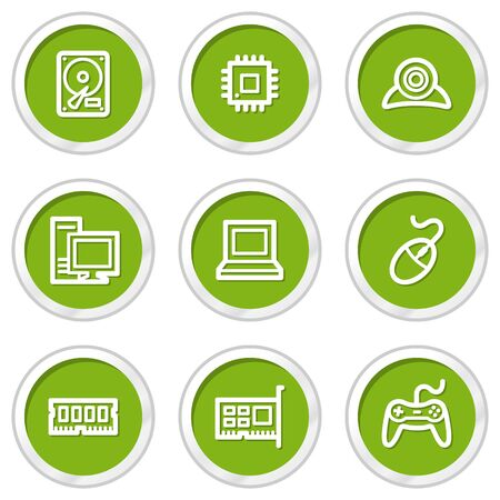 Computer web icons, green circle buttons Stock Vector - 6968591