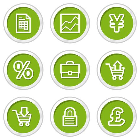 E-business web icons, green circle buttons Stock Vector - 6968575