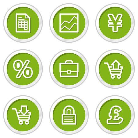 E-business web icons, green circle buttons Stock Vector - 6968575