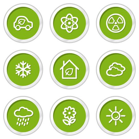 Ecology web icons set 2, green circle buttons Stock Vector - 6968590