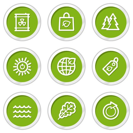Ecology web icons set 3, green circle buttons Stock Vector - 6968587