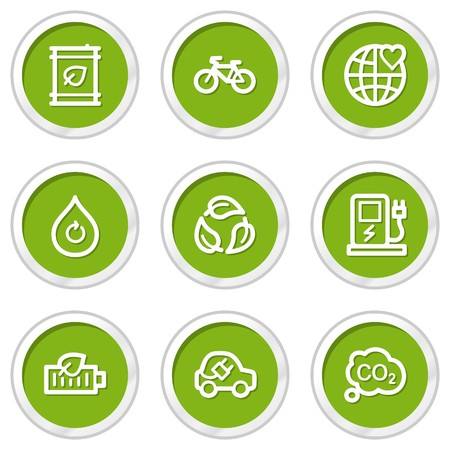 Ecology web icons set 4, green circle buttons Vector