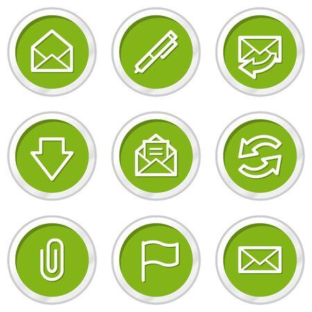 webmail: E-mail web icons set 1, green circle buttons