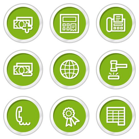 Finance web icons set 2, green circle buttons Stock Vector - 6968588