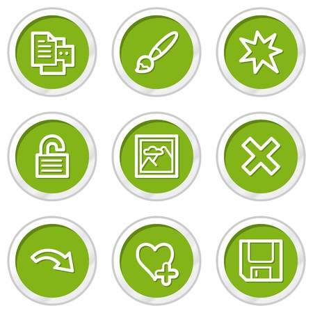 Image viewer web icons set 2, green circle buttons Stock Vector - 6968559