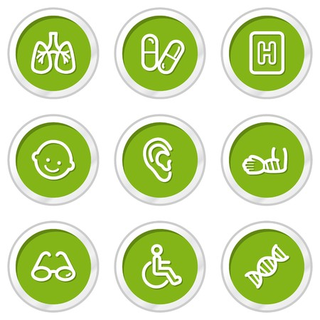 traumatic: Medicine web icons set 2, green circle buttons Illustration