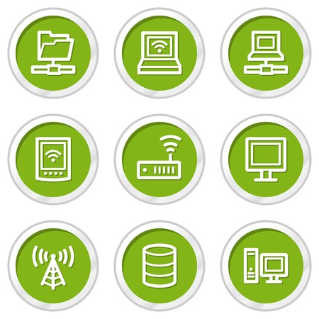 Network web icons, green circle buttons Stock Vector - 6968566