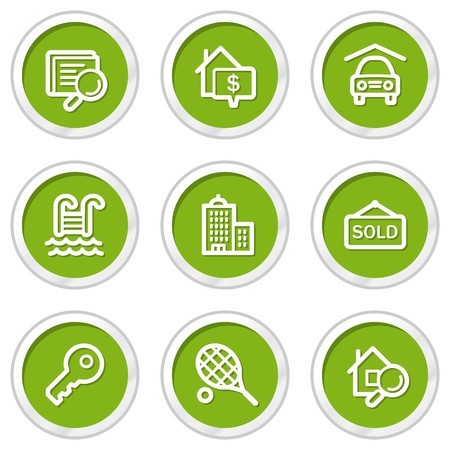 swimming pool home: Real estate web icons, green circle buttons