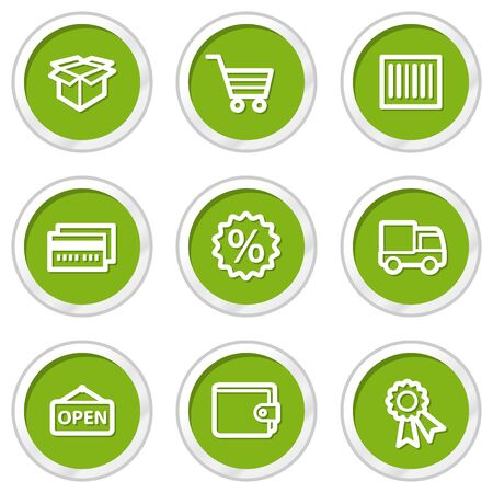 Shopping web icons set 2, green circle buttons Vector