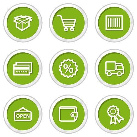 Shopping web icons set 2, green circle buttons Stock Vector - 6968576