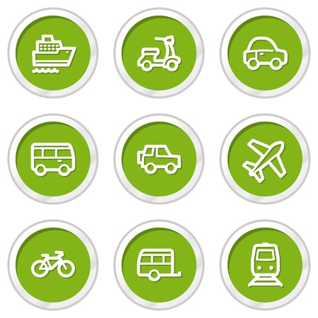 air liner: Transport web icons, green circle buttons