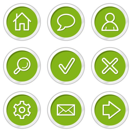 Basic web icons set 1, green circle buttons