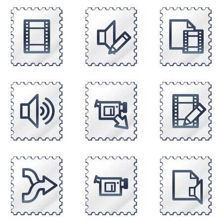Audio video edit web icons, white stamp series Vector