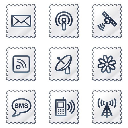 access point: Communication web icons, white stamp series