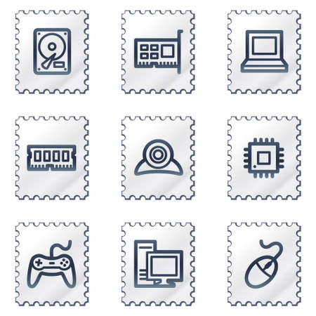 ddr: Computer web icons, white stamp series Illustration