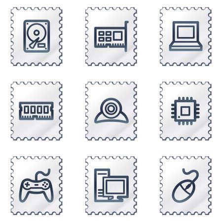 webcamera: Computer web icons, white stamp series Illustration