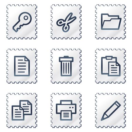 Document web icons set 1, white stamp series Vector
