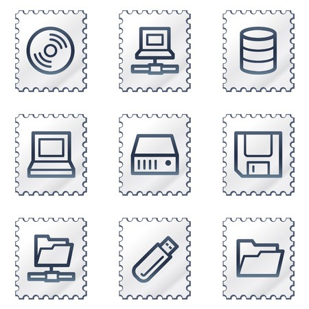 fdd: Drives and storage web icons, white stamp series