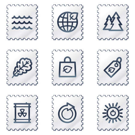 Ecology web icons set 3, white stamp series Vector