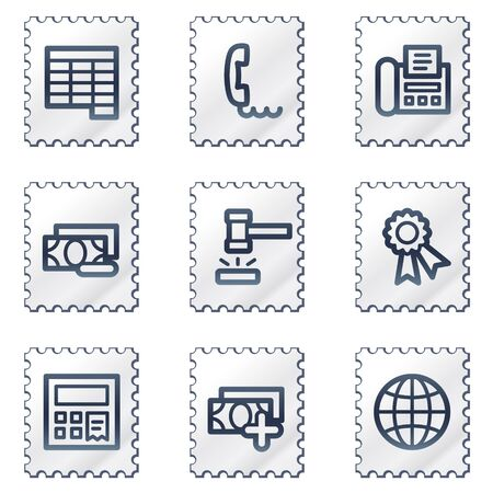 Finance web icons set 2, white stamp series Stock Vector - 6968636