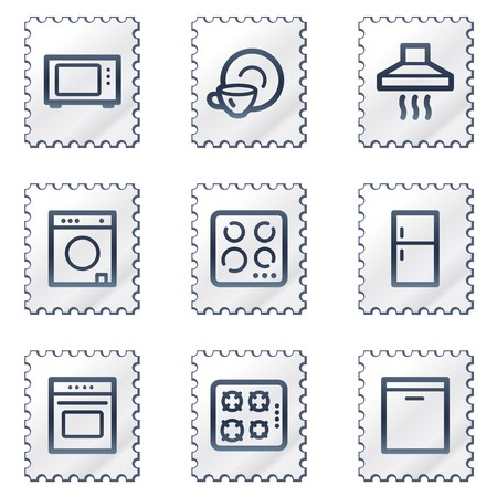 gas laundry: Home appliances web icons, white stamp series