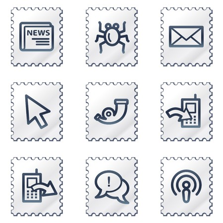 Internet web icons set 2, white stamp series Stock Vector - 6968620
